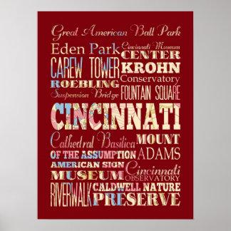 Attractions & Famous Places Cincinnati, Ohio. Posters