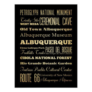 Attractions & Famous Places of Albuquerque, N.M. Poster