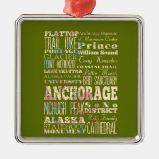 Attractions & Famous Places of Anchorage, Alaska. Christmas Ornament