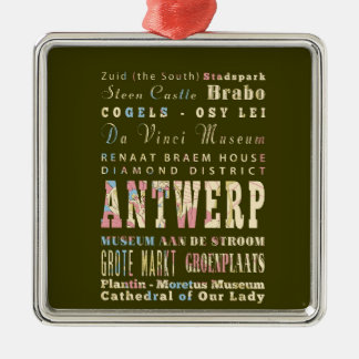 Attractions & Famous Places of Antwerp, Belgium. Christmas Ornament
