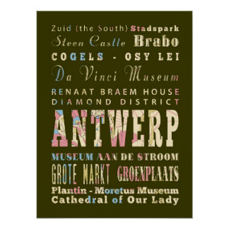 Attractions & Famous Places of Antwerp, Belgium. Poster