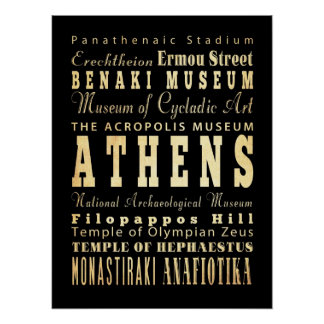 Attractions & Famous Places of Athens, Greece Poster