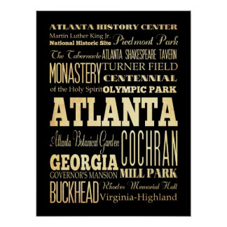 Attractions & Famous Places of Atlanta, Georgia Poster