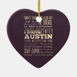 Attractions & Famous Places of Austin, Texas. Christmas Ornament