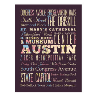 Attractions & Famous Places of Austin, Texas. Postcard