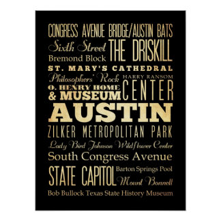 Attractions & Famous Places of Austin, Texas Poster