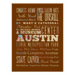 Attractions & Famous Places of  Austin, Texas. Posters