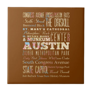 Attractions & Famous Places of  Austin, Texas. Tile