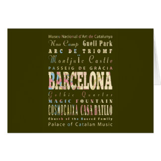 Attractions & Famous Places of Barcelona, Spain. Card