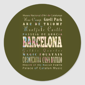 Attractions & Famous Places of Barcelona, Spain. Classic Round Sticker