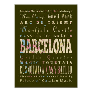 Attractions & Famous Places of Barcelona, Spain. Poster