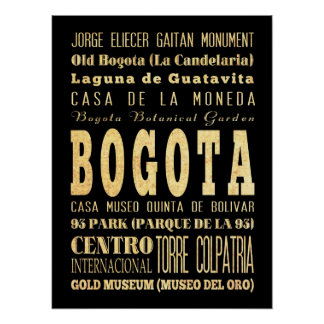 Attractions & Famous Places of Bogota, Colombia Poster