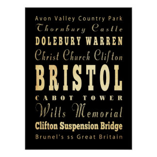 Attractions & Famous Places of Bristol, England Print