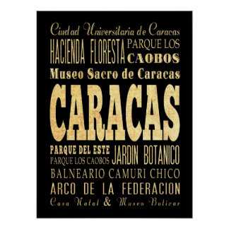 Attractions & Famous Places of Caracas, Venezuela. Poster