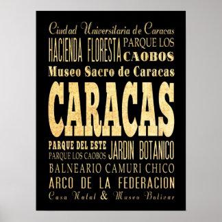 Attractions & Famous Places of Caracas, Venezuela. Poster