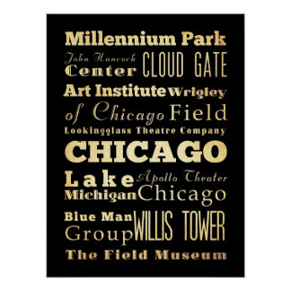 Attractions & Famous Places of Chicago, Illinois Poster