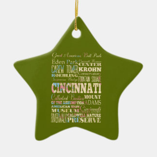 Attractions & Famous Places of Cincinnati, Ohio. Christmas Ornament