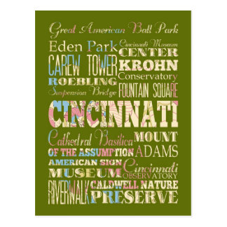 Attractions & Famous Places of Cincinnati, Ohio. Postcard