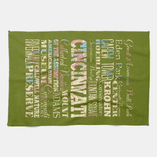 Attractions & Famous Places of Cincinnati, Ohio. Tea Towel