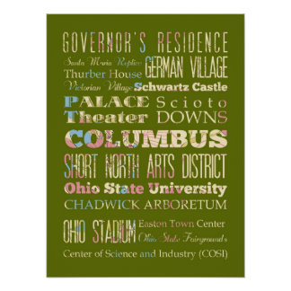 Attractions & Famous Places of Columbus, Georgia Poster