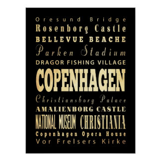 Attractions & Famous Places of Copenhagen, Denmark Poster