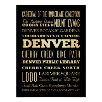 Attractions & Famous Places of Denver, Colorado Poster