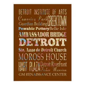 Attractions & Famous Places of Detroit, Michigan. Poster