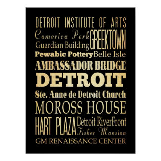 Attractions & Famous Places of Detroit, Michigan Poster