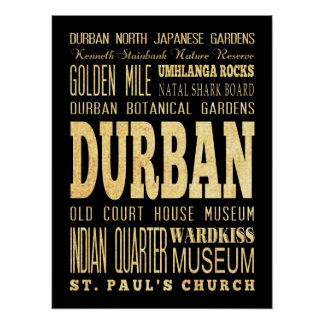 Attractions & Famous Places of Durban,South Africa Poster
