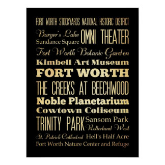 Attractions & Famous Places of Fort Worth, Texas Poster