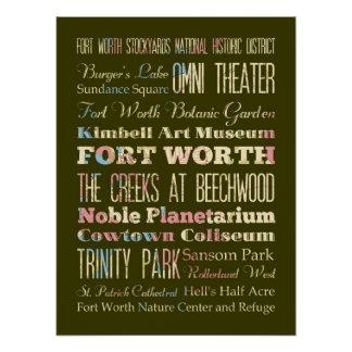 Attractions & Famous Places of Fort Worth, Texas. Poster