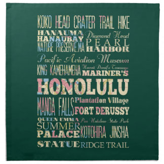 Attractions & Famous Places of Honolulu, Hawaii. Napkin