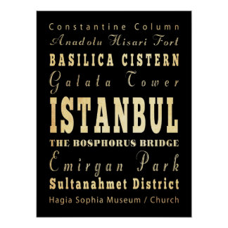 Attractions & Famous Places of Istanbul, Turkey Posters