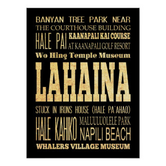 Attractions & Famous Places of Lahaina, Hawaii Poster