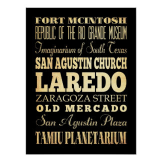 Attractions & Famous Places of Laredo, Texas Poster