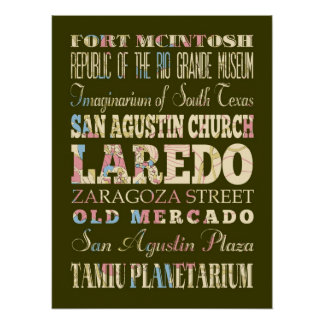 Attractions & Famous Places of Laredo, Texas. Print