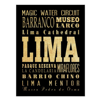 Attractions & Famous Places of Lima, Peru Print