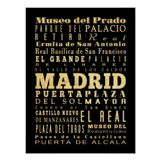 Attractions & Famous Places of Madrid, Spain Print