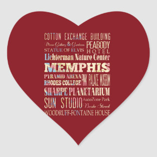 Attractions & Famous Places of Memphis, Tennessee. Heart Sticker