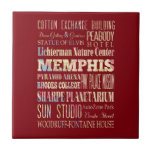 Attractions & Famous Places of Memphis, Tennessee. Small Square Tile