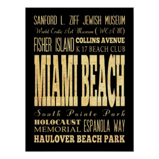 Attractions & Famous Places of Miami Beach,Florida Poster