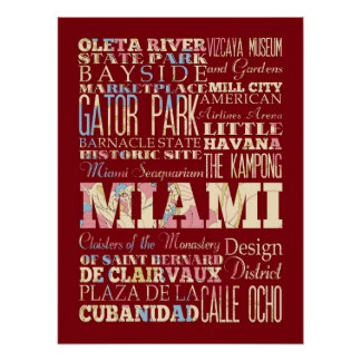Attractions & Famous Places of Miami, Florida. Posters