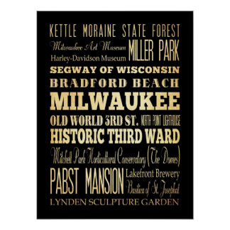 Attractions & Famous Places of Milwaukee,Wisconsin Poster