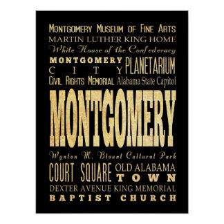Attractions & Famous Places of Montgomery, Alabama Poster