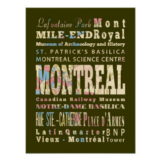 Attractions & Famous Places of Montreal, Quebec Poster