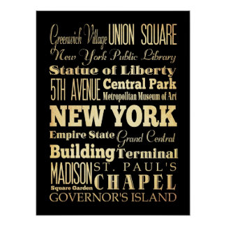 Attractions & Famous Places of New York, New York Poster