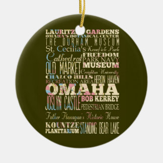Attractions & Famous Places of Omaha, Nebaska. Round Ceramic Decoration