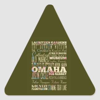 Attractions & Famous Places of Omaha, Nebaska. Triangle Sticker
