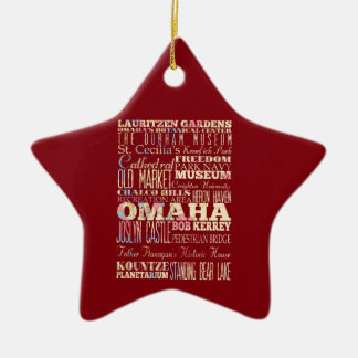 Attractions & Famous Places of Omaha, Nebraska. Ceramic Star Decoration