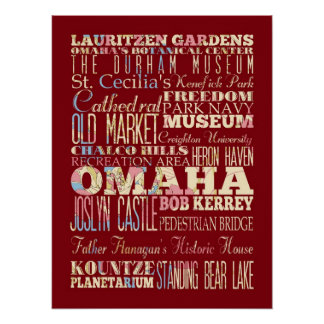 Attractions & Famous Places of Omaha, Nebraska. Print